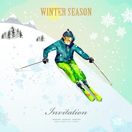 Sport zimowy. dziewczyna na nartach w ośrodku narciarskim. akwarela. Vintage plakat dla swojego projektu.