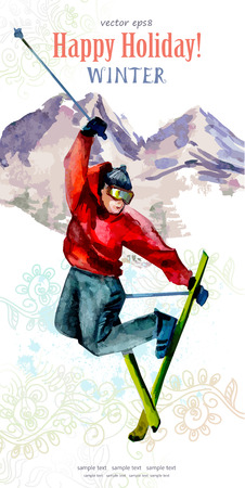 watercolor postcard with young man skier for your design