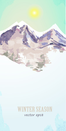 mountain holidays: watercolor poster with mountain landscape for your design