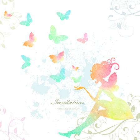 femme papillon: Fée de peinture à l'aquarelle Illustration
