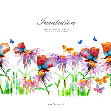 butterfly on flower: cute floral border. watercolor