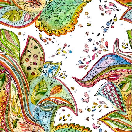 batik: seamless texture avec motif magie. peinture à l'aquarelle Illustration