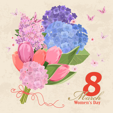 vintage invitation card with flowers bouquet. Women`s day. 8 march Illustration