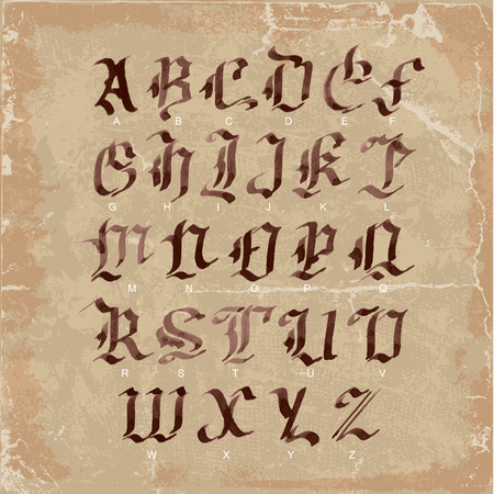 gothic letters: Hand drawn letters. gothic style alphabet on vintage paper. watercolor