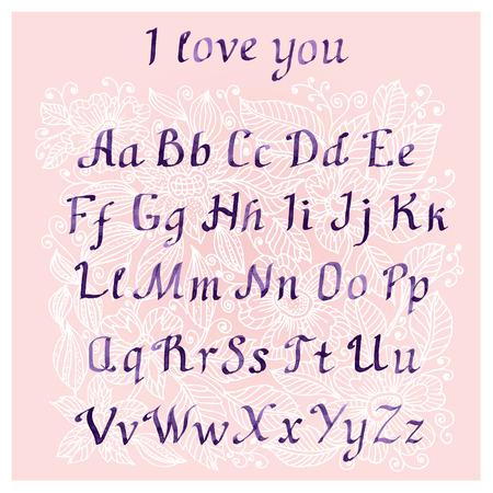 cursive: romantic Handwritten watercolor letters Illustration