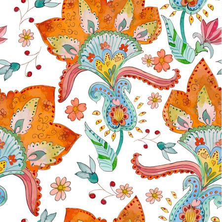 batik: seamless texture avec des fleurs mignonnes. aquarelle Illustration