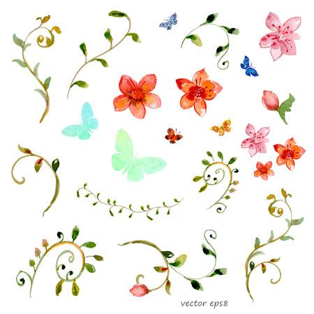 foliate elements. watercolor painting