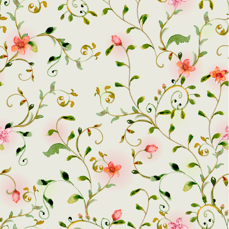seamless texture with foliate ornament and flowers. watercolor painting