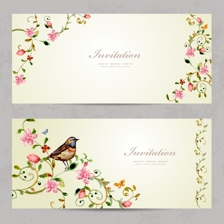 invitation cards with foliate ornament and flowers. watercolor painting Illustration