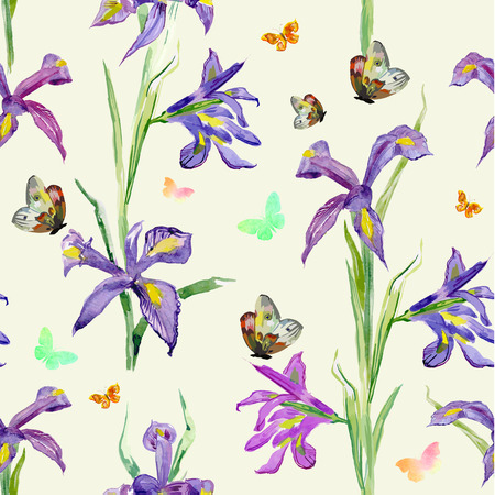 schmetterlinge blau wasserfarbe: nahtlose Textur. Aquarell Frühlingsblumen. Iris