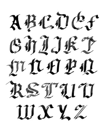 gothic letters: Hand drawn letters. gothic style alphabet. ink