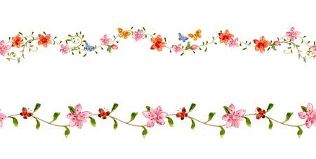 Blumen gesetzt nahtlose Grenzen für Ihr Design. Aquarell Standard-Bild - 37863323