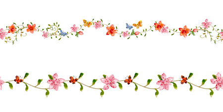 floral set seamless borders for your design. watercolor Illustration