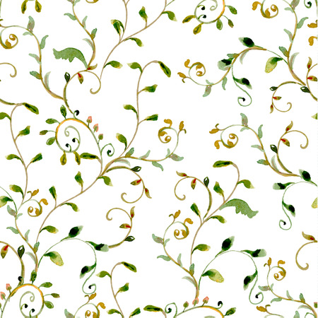 foliate: seamless texture with foliate ornament. watercolor painting Illustration