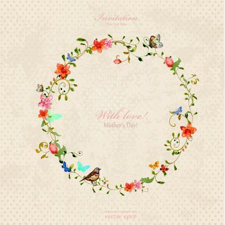 葉状の飾りと花とヴィンテージの花輪。水彩画