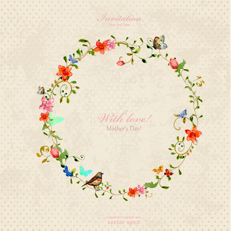 circle flower: vintage wreath with foliate ornament and flowers. watercolor painting Illustration