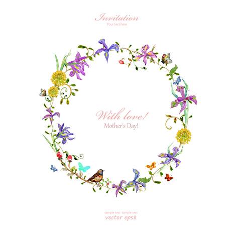 Einladungskarte mit Liebe. Muttertag. Aquarellblumen Standard-Bild - 37863327