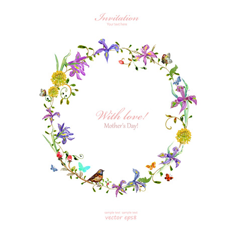 Invitation card with love. mother's Day. watercolor flowers Vectores
