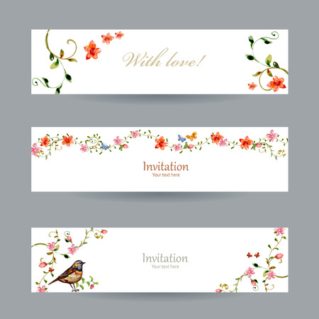 collection cards with foliate ornament and flowers. watercolor painting