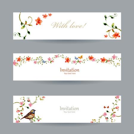 verzameling kaarten met foliate ornament en bloemen. aquarel schilderij