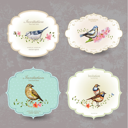 vintage invitation: collection retro label of cute bird. watercolor painting