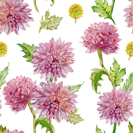 painted image: seamless texture. watercolor flowers. golden-daisy Illustration
