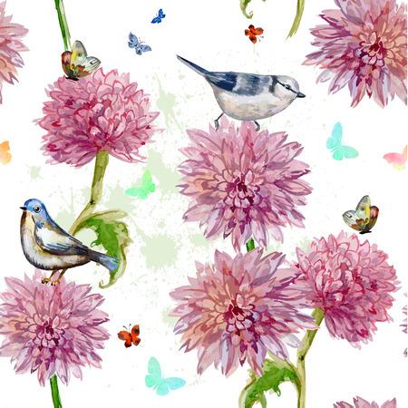 seamless texture. watercolor spring flowers. chrysanthemum
