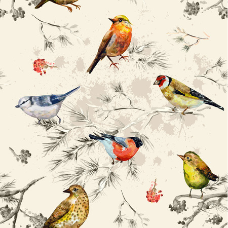 red wallpaper: vintage seamless texture of little birds. watercolor painting