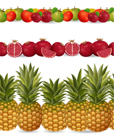 realistically: collection seamless borders with fruits on white background. apple, pineapple, pomegranate