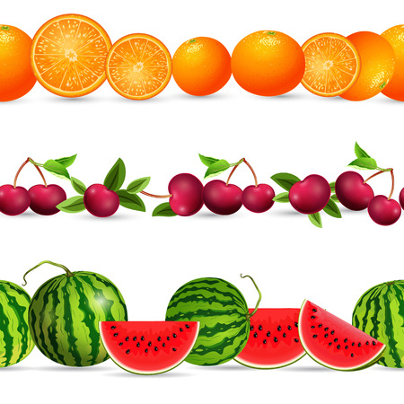 realistically: collection seamless borders with fruits on white background. citrus, cherry, watermelon