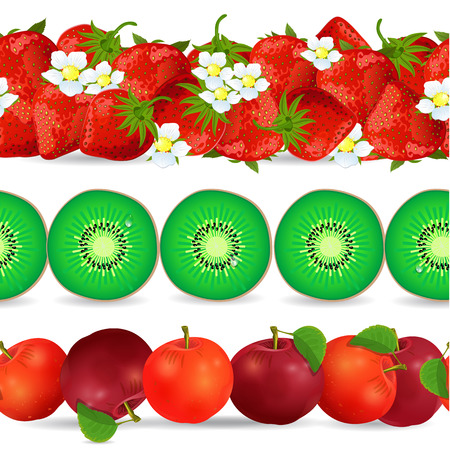 collection seamless borders with fruits on white background. apple, kiwi, strawberry Vector