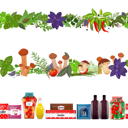 collection seamless borders with food, vegetables, herbs, mushroom on white background