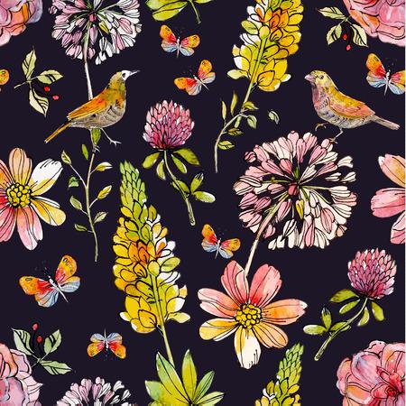 Natura annata seamless texture acquerello con gli uccelli svegli e farfalle. illustrazione vettoriale Archivio Fotografico - 40100007