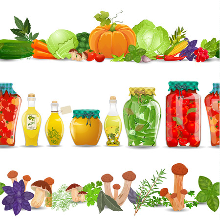 fruits and vegetables: collection seamless borders with preserve food, vegetables, mushrooms and herbs on white background