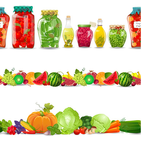 collection seamless borders with preserve food, vegetables, fruits on white background Vectores