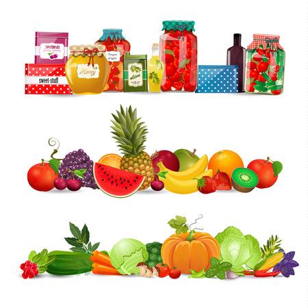frutas: fronteras colección con preservar los alimentos, verduras, frutas. cosecha de otoño Vectores
