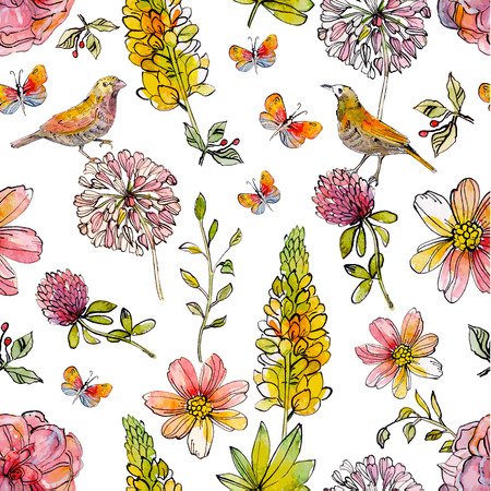 Nature seamless texture watercolor. vector illustration  イラスト・ベクター素材