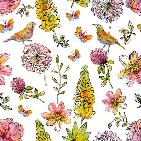 Nature seamless texture watercolor. vector illustration Illustration
