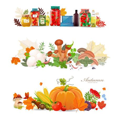 conserve: fronti�res de collection avec conservent la nourriture et les champignons. r�colte d'automne