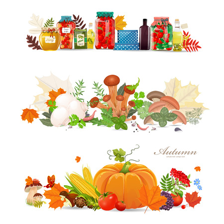 collection borders with preserve food and mushrooms. autumn harvest
