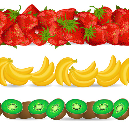 realistically: collection seamless borders with fruits on white background. banana, kiwi, strawberry