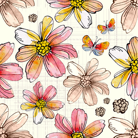 Flower seamless texture watercolor. vector illustration