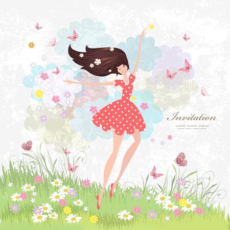 Niña feliz en el prado de flores con mariposas rosas.