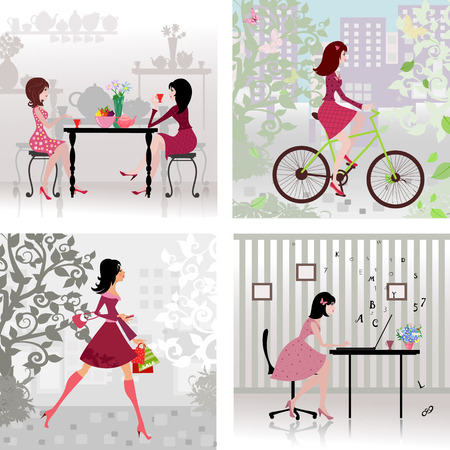 cafeteria: Collection cute girls in the city. cityscape. landscape with tree. cafeteria. office worker