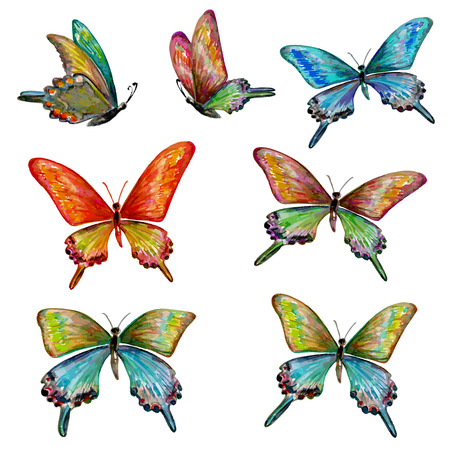 butterfly in hand: collection of cute butterflies. watercolor painting