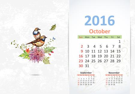 october: Calendar for 2016, October Illustration