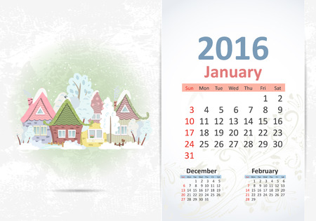 fense: Cute sweet town. calendar for 2016, January Illustration