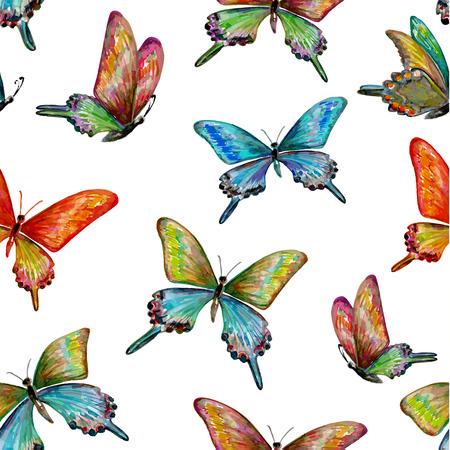 Naadloze textuur met schattige vlinders. Aquarel schilderij Stock Illustratie