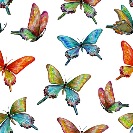 seamless texture with of cute butterflies. watercolor painting