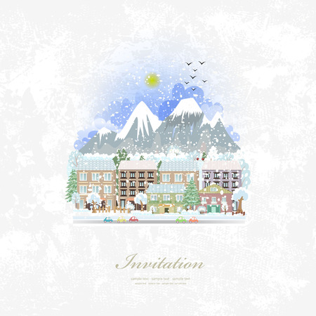 winter car: vintage invitation card with cute cityscape. winter travel